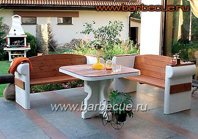 Садовая мебель: стол + 2 скамейки - 25500 руб.